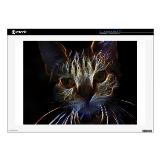 Haunting cat face art, made of light - gothic laptop decals