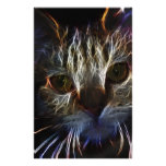 Haunting cat face art, made of light - gothic stationery paper