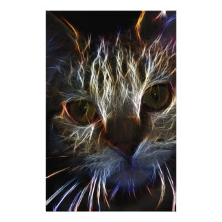 Haunting cat face art, made of light - gothic stationery