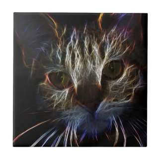 Haunting cat face art, made of light - gothic tiles
