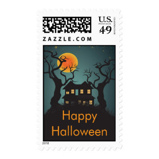 Haunting Happy Halloween Postage Stamps