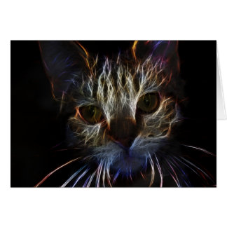 Haunting pet cat face art, made of light - gifts greeting cards