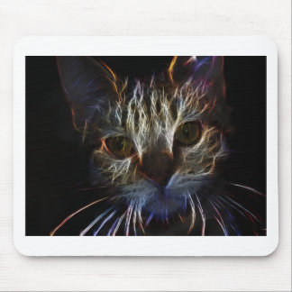 Haunting pet cat face art, made of light - gifts mousepad