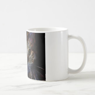 Haunting pet cat face art, made of light - gifts mug