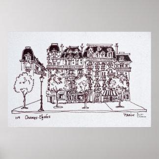 Haussmann Architecture   Champs Elysees, Paris Poster