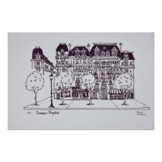 Haussmann Architecture   Champs Elysees Poster