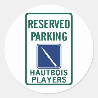 Hautbois Players Parking Classic Round Sticker