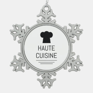 Haute Cuisine French Chef Cooking School Snowflake Pewter Christmas Ornament