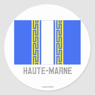 Haute-Marne flag with name Round Sticker