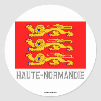 Haute-Normandie flag with name Classic Round Sticker