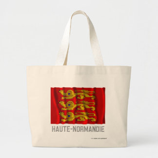 Haute-Normandie waving flag with name Large Tote Bag
