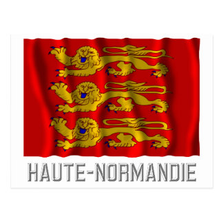 Haute-Normandie waving flag with name Postcard