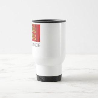 Haute-Normandie waving flag with name Travel Mug