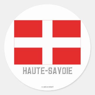 Haute-Savoie flag with name Classic Round Sticker