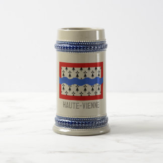 Haute-Vienne flag with name Beer Stein