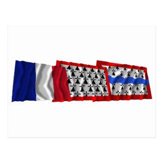 Haute-Vienne, Limousin & France flags Postcard