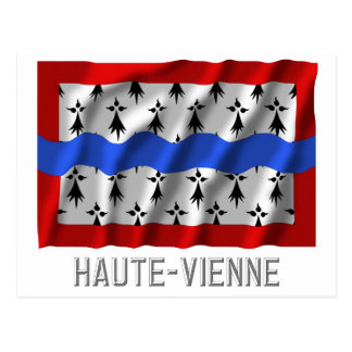 Haute-Vienne waving flag with name Postcard