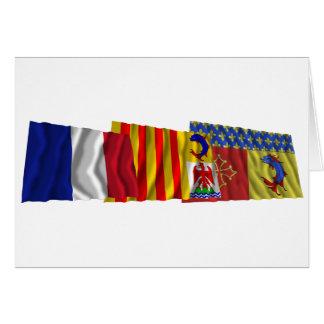 Hautes-Alpes, PACA & France flags Card