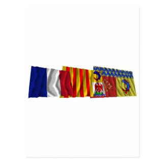 Hautes-Alpes, PACA & France flags Postcard