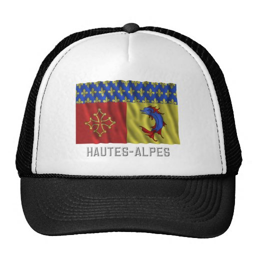 Hautes-Alpes waving flag with name Trucker Hat