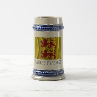 Hautes-Pyrénées waving flag with name Beer Stein