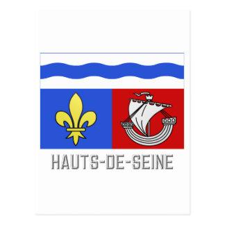 Hauts-de-Seine flag with name Postcard