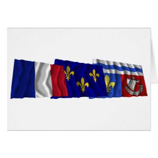 Hauts-de-Seine, Île-de-France & France flags Card
