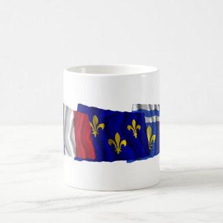 Hauts-de-Seine, Île-de-France & France flags Coffee Mug