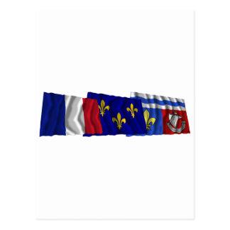 Hauts-de-Seine, Île-de-France & France flags Postcard