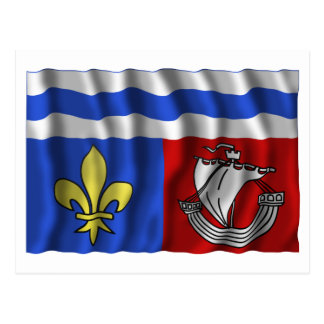Hauts-de-Seine waving flag Postcard