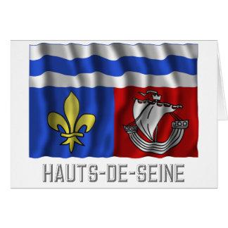 Hauts-de-Seine waving flag with name Card