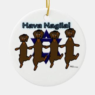 Hava Nagila Dachsunds Ornament