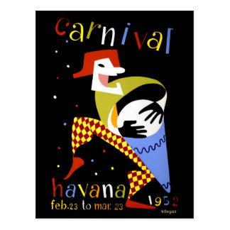 Havana Carnival Vintage Travel Poster Postcard