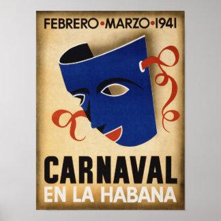 Havana Carnival Vintage Travel Poster Restored