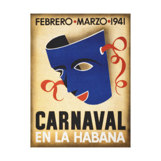 Havana Carnival Vintage Travel Poster Restored Canvas Print