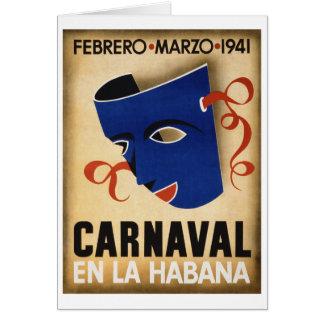Havana Carnival Vintage Travel Poster Restored Card