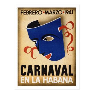 Havana Carnival Vintage Travel Poster Restored Postcard