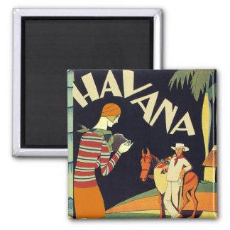 Havana Cuba Art Deco Cover Vintage Art 2 Inch Square Magnet