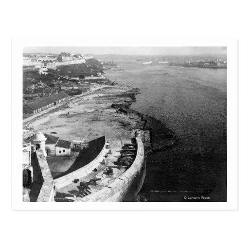 Havana, Cuba Harbor with part of Morro Castle Postcard
