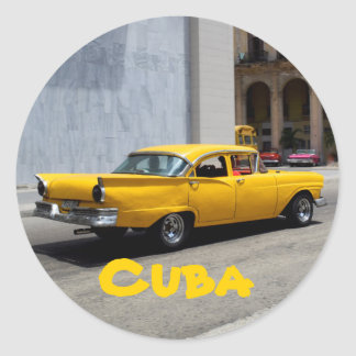 Havana Cuba Old Car yellow Classic Round Sticker