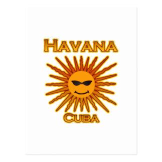 Havana Cuba Sun Logo Postcard