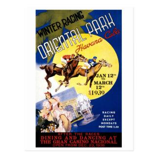 Havana Horse Racing Vintage Travel Poster Postcard