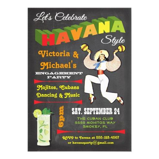 "Havana nights Cuban Poster Invitation 4.5"" X 6.25 ..."