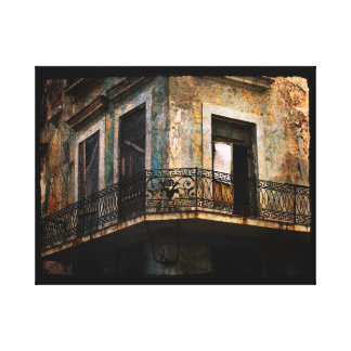 Havana - old building balcony gallery wrapped canvas