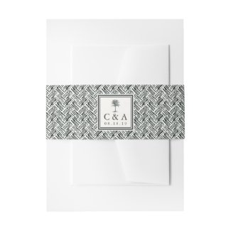 Havana Palm | Monogram Wedding Invitation Belly Band