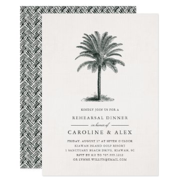 Beach Themed Havana Palm Rehearsal Dinner Invitation