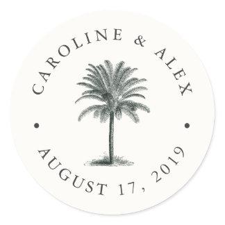 Havana Palm Wedding Classic Round Sticker