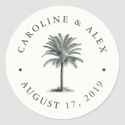 Havana Palm Wedding Classic Round Sticker