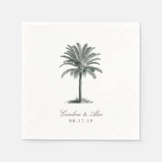 Havana Palm Wedding Paper Napkin