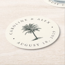 Havana Palm Wedding Round Paper Coaster